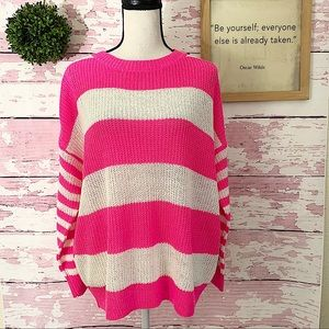 DEBUT Pink White Long Sleeve Striped Sweater S/M